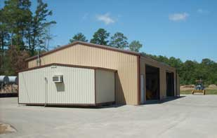 Tan Metal Storage Building