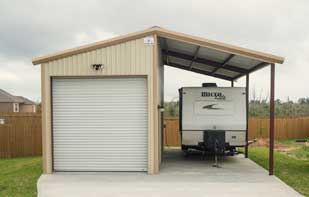 Metal Storage Building with Side RV Cover